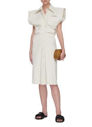 Figure View - Click To Enlarge - BOTTEGA VENETA - Bat wing toile shirt dress