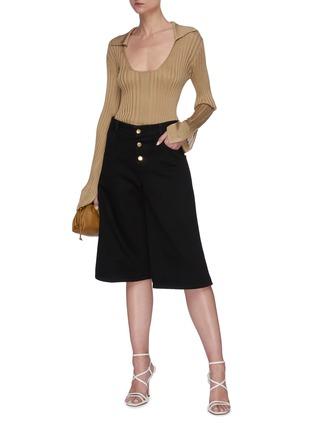Figure View - Click To Enlarge - BOTTEGA VENETA - Denim loop culotte pants