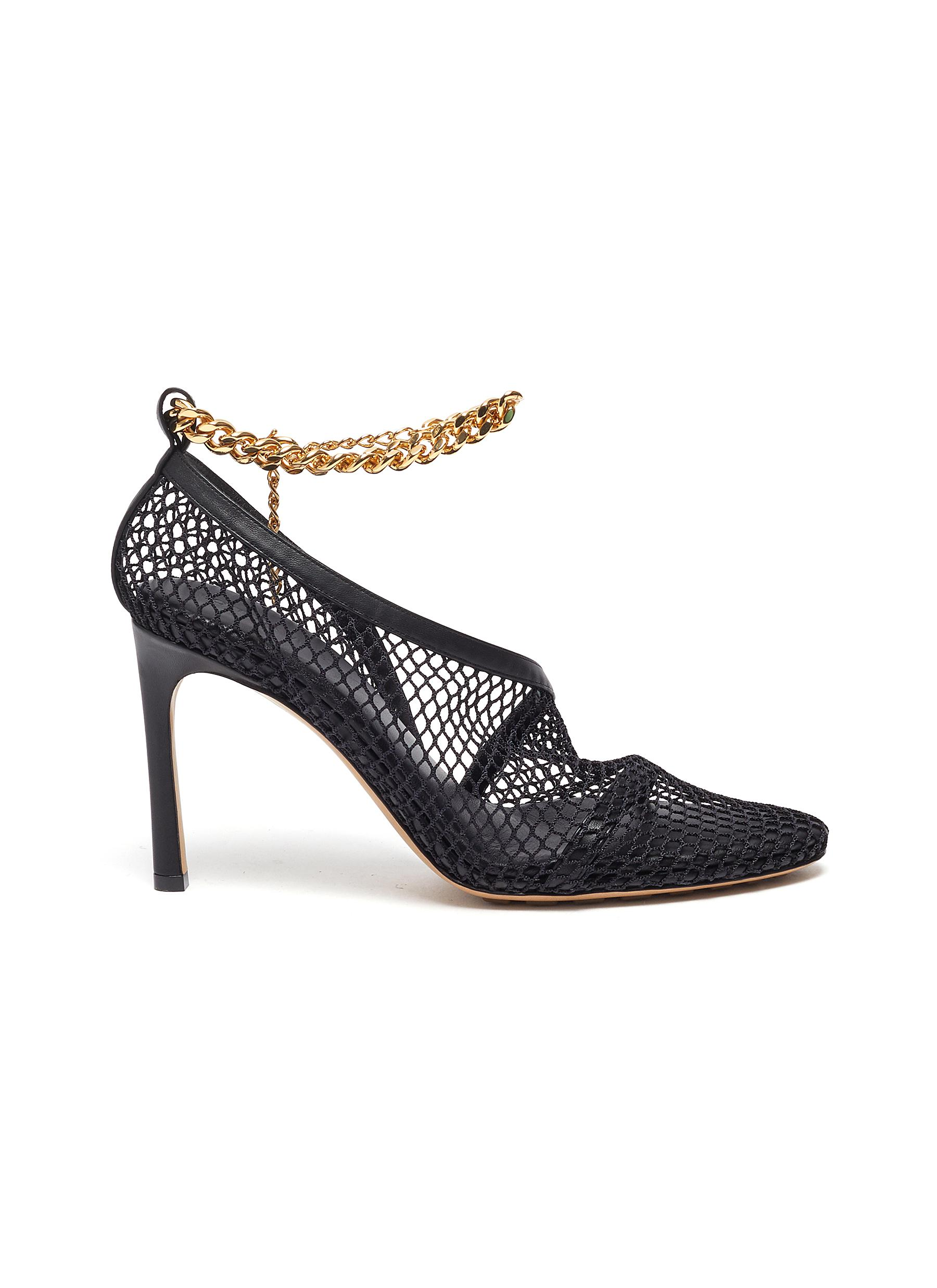 Bottega Veneta High Heels Chunky chain embellished mesh pumps
