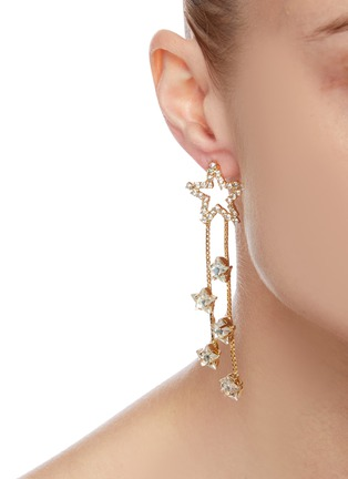 Figure View - Click To Enlarge - ROSANTICA - 'Milky Way' crystal embellished mismatched drop earrings