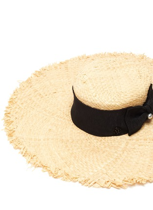 Detail View - Click To Enlarge - MAISON MICHEL - Ursula' ribbon and pearl embellished raffia hat