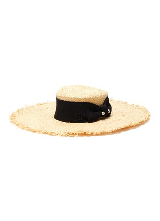 Main View - Click To Enlarge - MAISON MICHEL - Ursula' ribbon and pearl embellished raffia hat