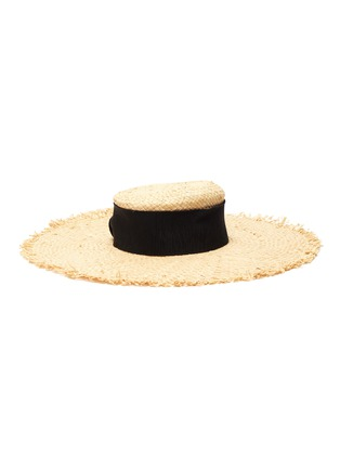 Figure View - Click To Enlarge - MAISON MICHEL - Ursula' ribbon and pearl embellished raffia hat
