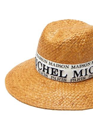 Detail View - Click To Enlarge - MAISON MICHEL - Kate' logo band raffia straw fedora hat