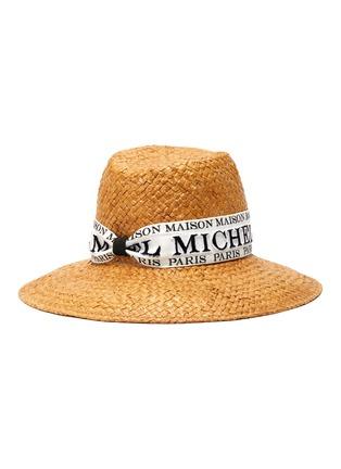 Main View - Click To Enlarge - MAISON MICHEL - Kate' logo band raffia straw fedora hat