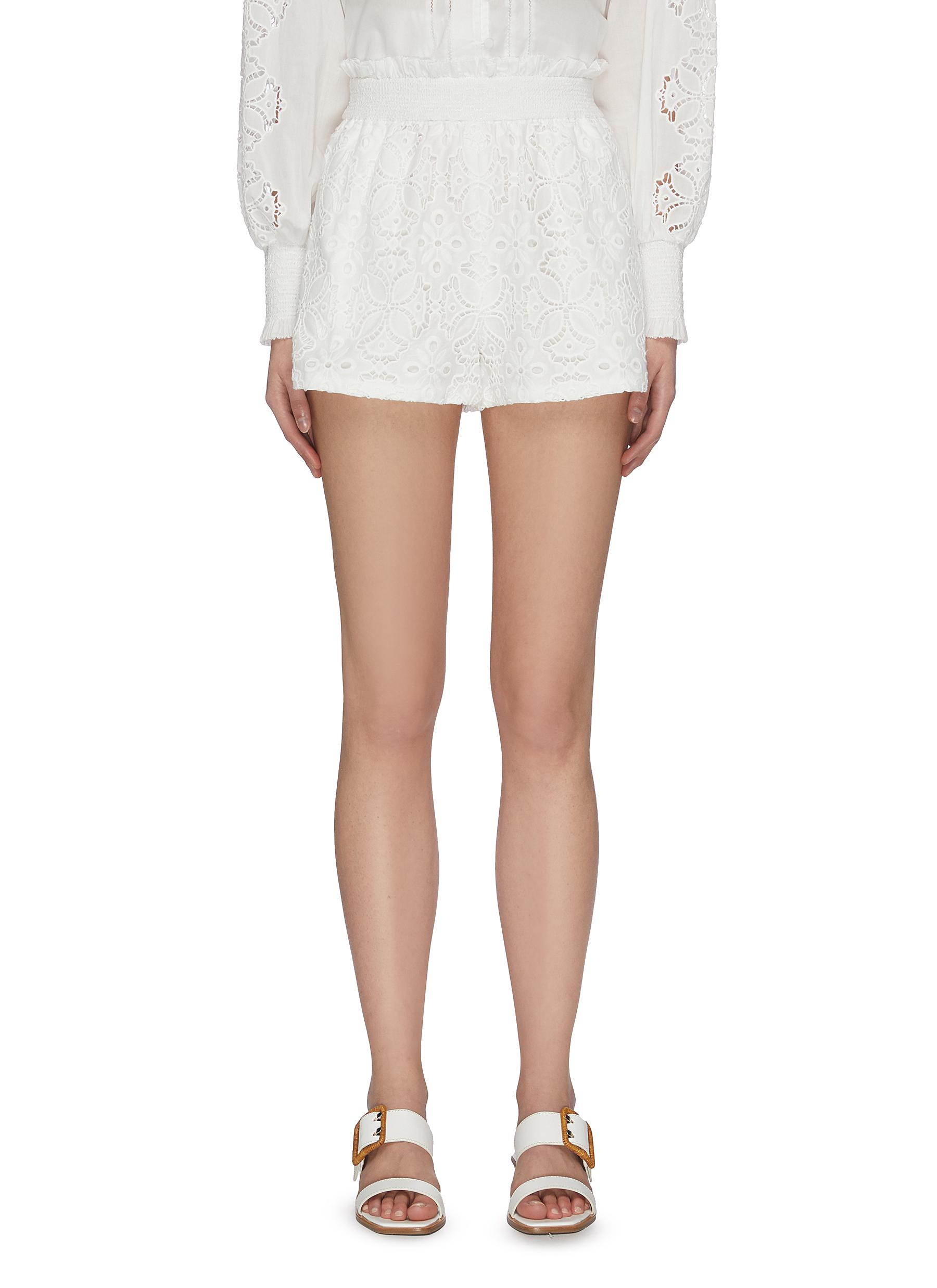Buy Jonathan Simkhai Pants & Shorts 'Alexandra' floral smocked shorts