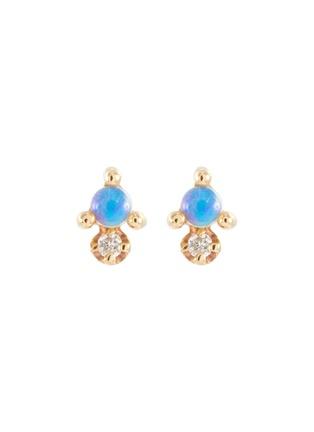 Main View - Click To Enlarge - WWAKE - Opal diamond stud 10K gold earrings