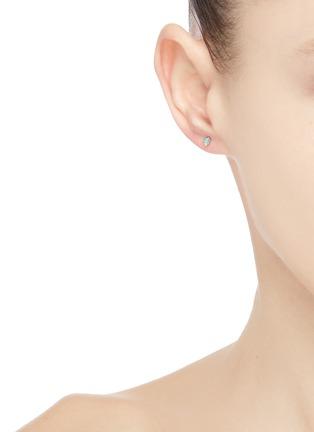 Figure View - Click To Enlarge - WWAKE - Opal diamond stud 10K gold earrings