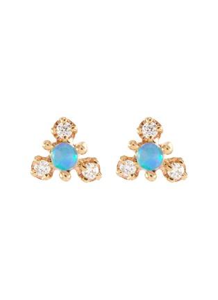 Main View - Click To Enlarge - WWAKE - 'Burst' diamond opal 10K gold stud earrings