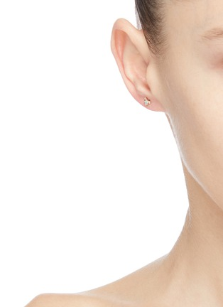 Figure View - Click To Enlarge - WWAKE - 'Burst' diamond opal 10K gold stud earrings