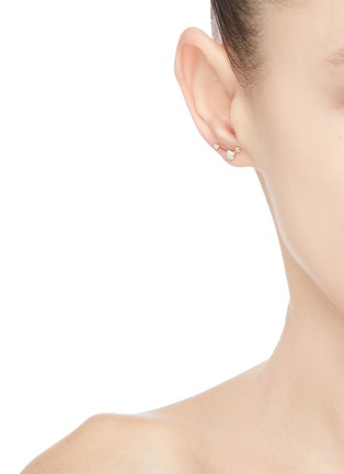 Figure View - Click To Enlarge - WWAKE - 'Three-Step Ballon' diamond opal 14K gold earrings