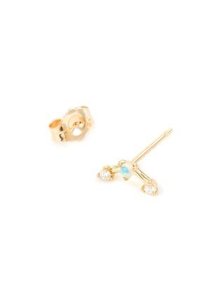 Detail View - Click To Enlarge - WWAKE - 'Mini Three-Step Point' diamond opal 14K gold earrings