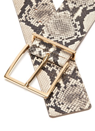 Detail View - Click To Enlarge - MAISON BOINET - Brass Buckle Snake Embossed  Leather Belt