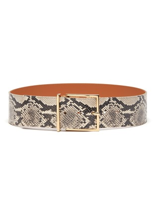 Main View - Click To Enlarge - MAISON BOINET - Brass Buckle Snake Embossed  Leather Belt