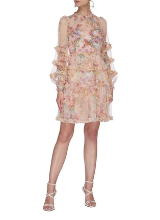 Figure View - Click To Enlarge - NEEDLE & THREAD - 'Floral Diamond' ruffle long sleeve mini dress
