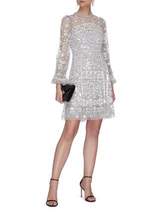 Figure View - Click To Enlarge - NEEDLE & THREAD - Sequin embellished tulle mini dress
