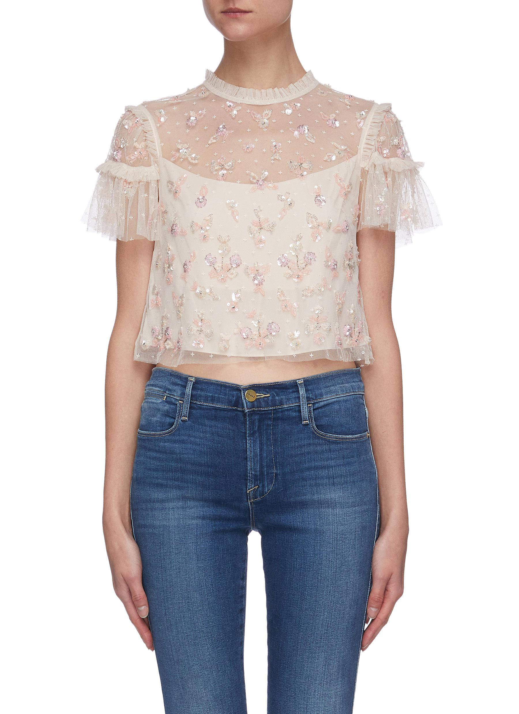 Penelope sequin embellished short sleeve crop tulle top - NEEDLE & THREAD - Modalova