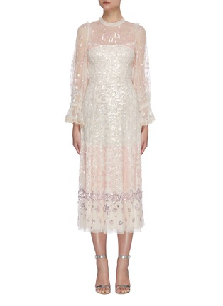 Main View - Click To Enlarge - NEEDLE & THREAD - Sequin embellished trumpet sleeve tulle ballerina midi dress