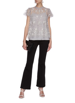 Figure View - Click To Enlarge - NEEDLE & THREAD - 'Ashley' floral embroidered round neck tulle top