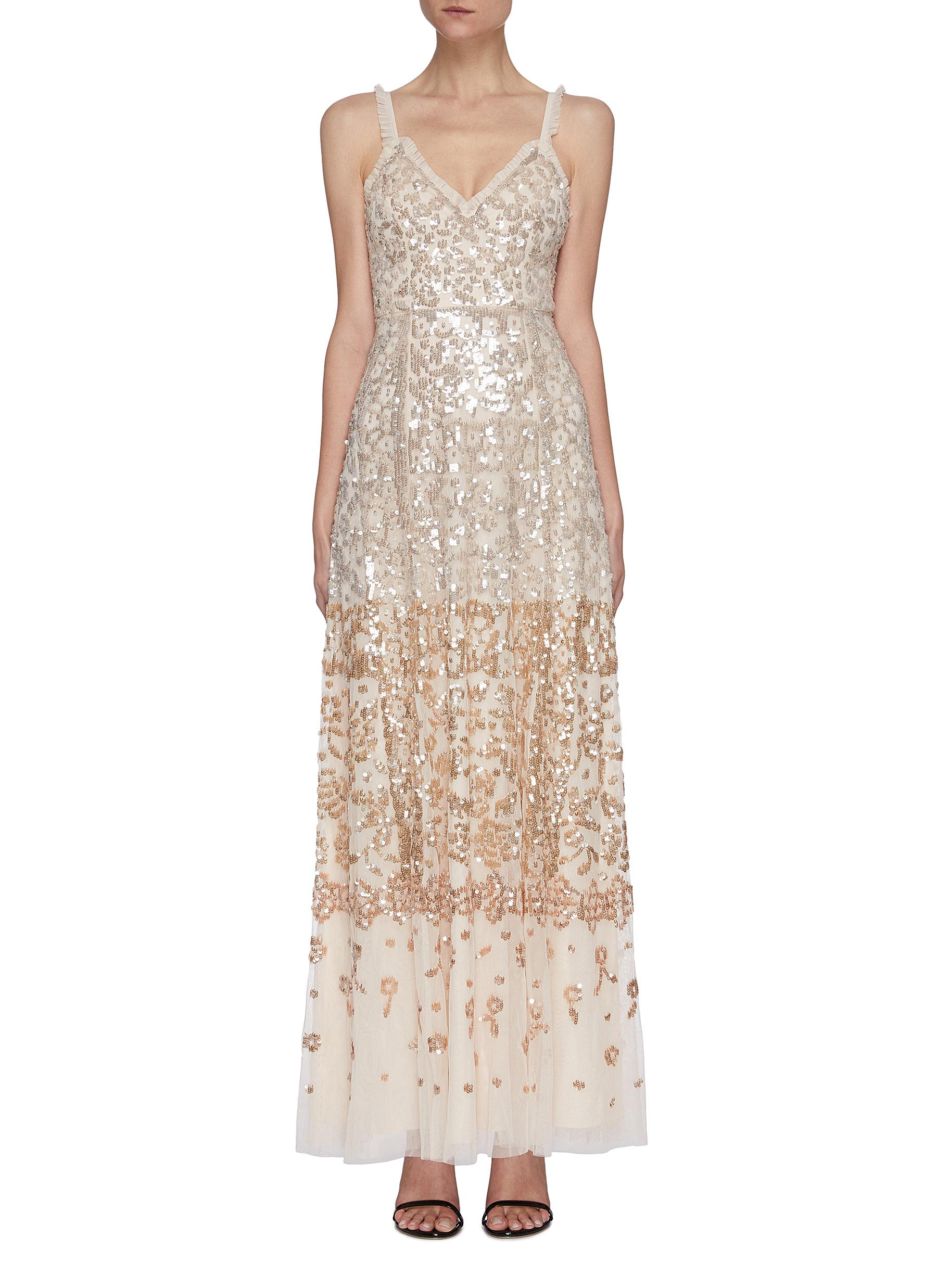 Needle & Thread SEQUIN EMBELLISHED SLEEVELESS GOWN