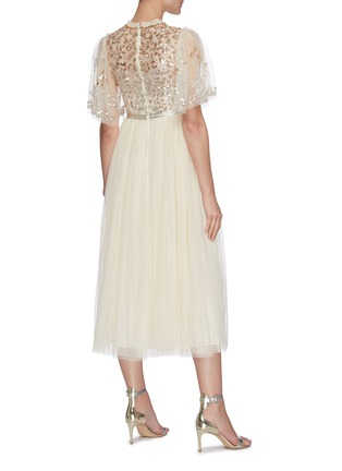 Back View - Click To Enlarge - NEEDLE & THREAD - Sequin embellished panelled cape sleeve tulle midi dress
