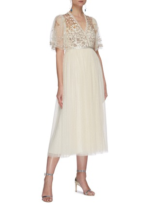 Figure View - Click To Enlarge - NEEDLE & THREAD - Sequin embellished panelled cape sleeve tulle midi dress