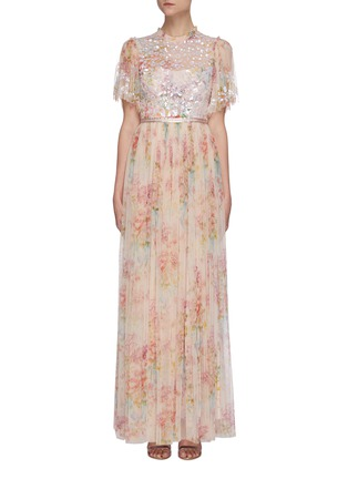 Main View - Click To Enlarge - NEEDLE & THREAD - 'Floral Diamond' bodice short sleeve maxi dress