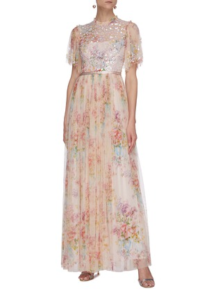Figure View - Click To Enlarge - NEEDLE & THREAD - 'Floral Diamond' bodice short sleeve maxi dress