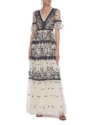 Figure View - Click To Enlarge - NEEDLE & THREAD - Midsummer' lace trim floral embroidered short sleeve gown