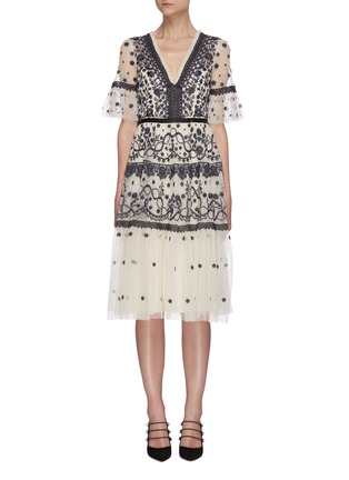 Main View - Click To Enlarge - NEEDLE & THREAD - Midsummer' lace trim floral embroidered short sleeve mini dress