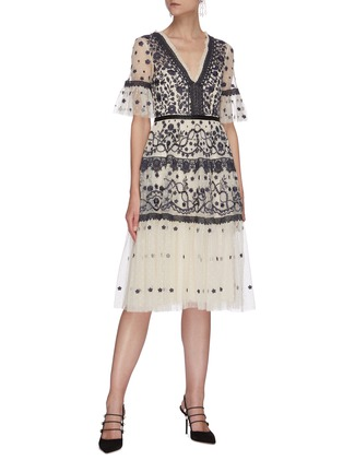 Figure View - Click To Enlarge - NEEDLE & THREAD - Midsummer' lace trim floral embroidered short sleeve mini dress