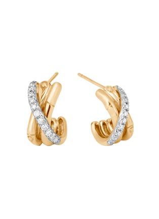 Main View - Click To Enlarge - JOHN HARDY - 'Bamboo' diamond 18k gold hoop earrings