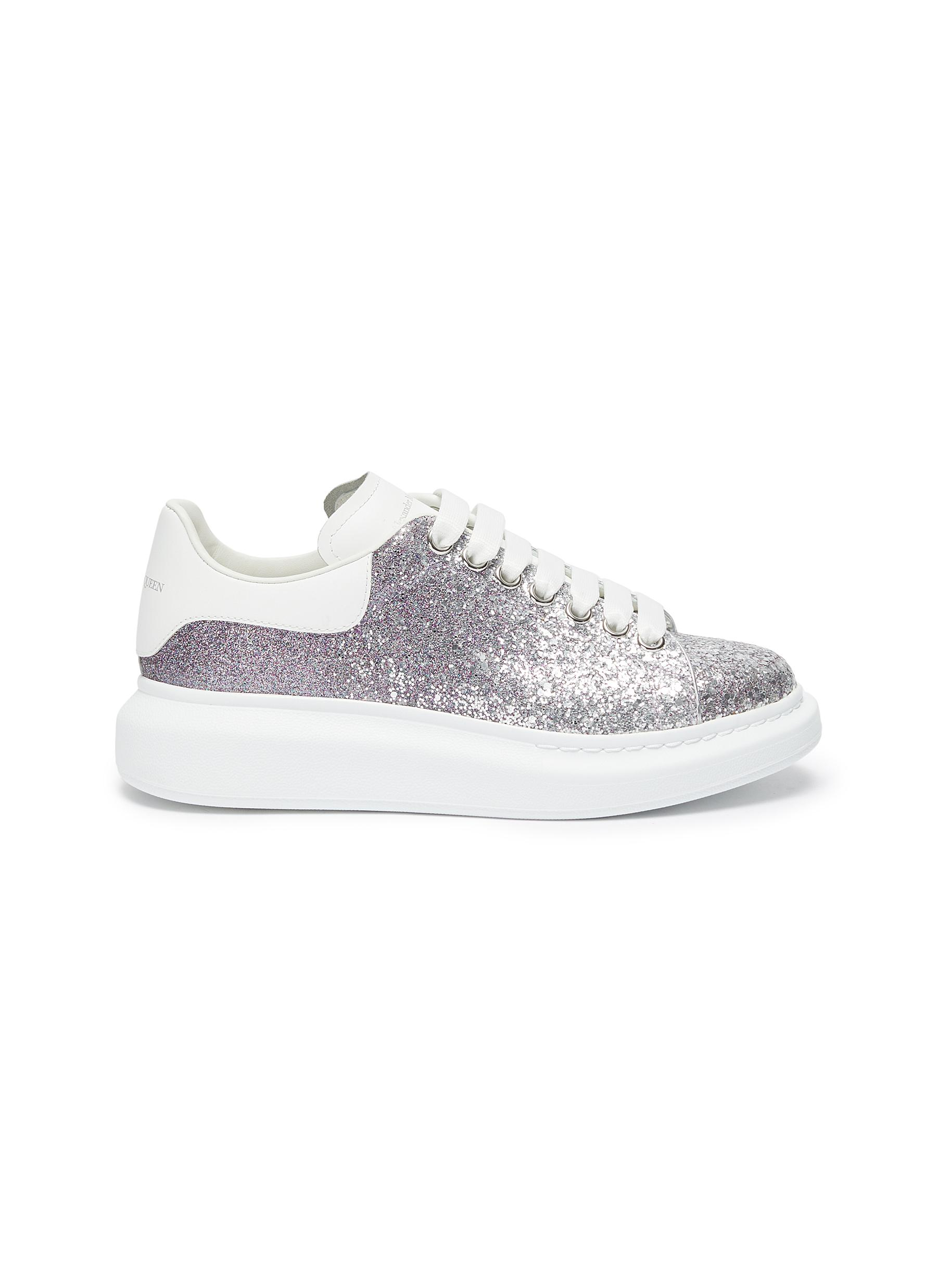 Glitter with leather collar sneakers
