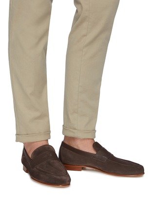 Figure View - Click To Enlarge - JOHN LOBB - 'Hendra' suede penny loafers