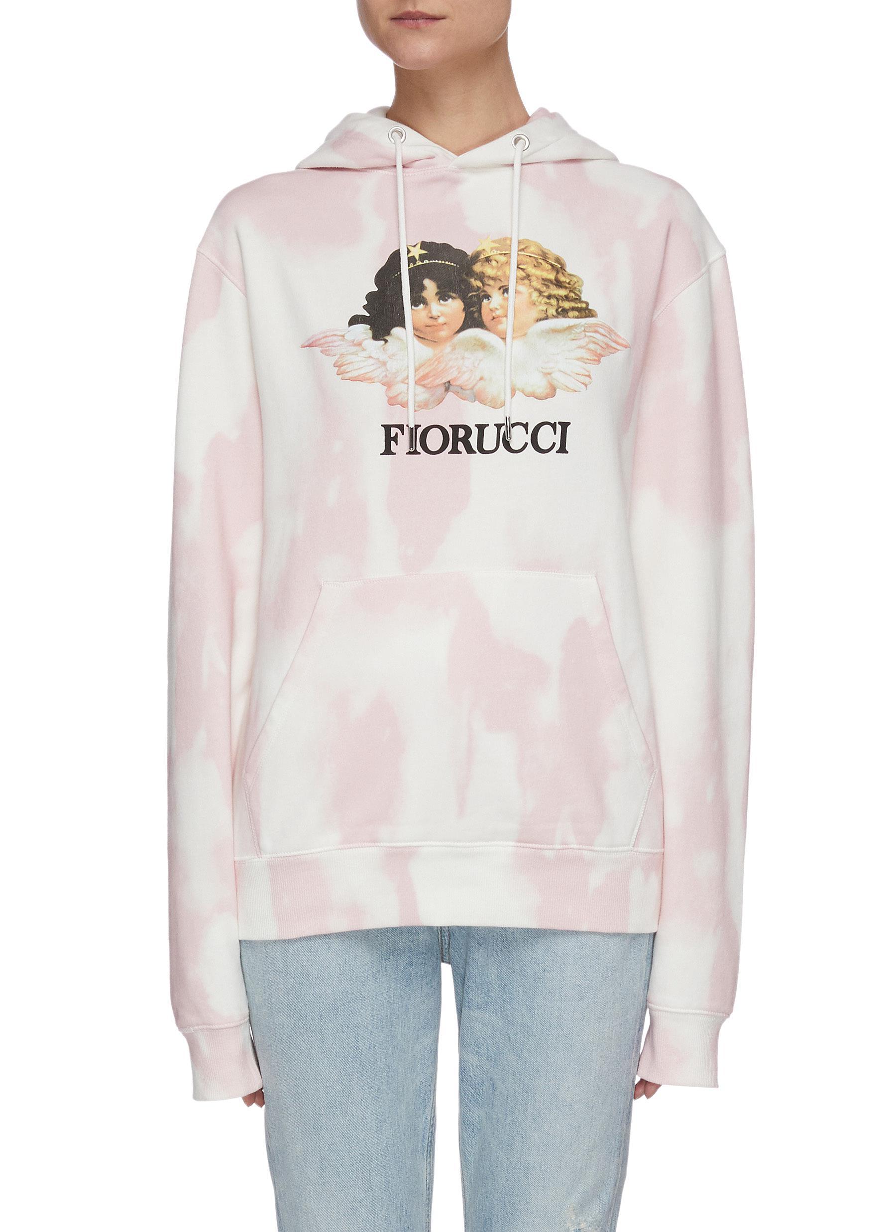 shop Fiorucci Angel print tie dye hoodie online
