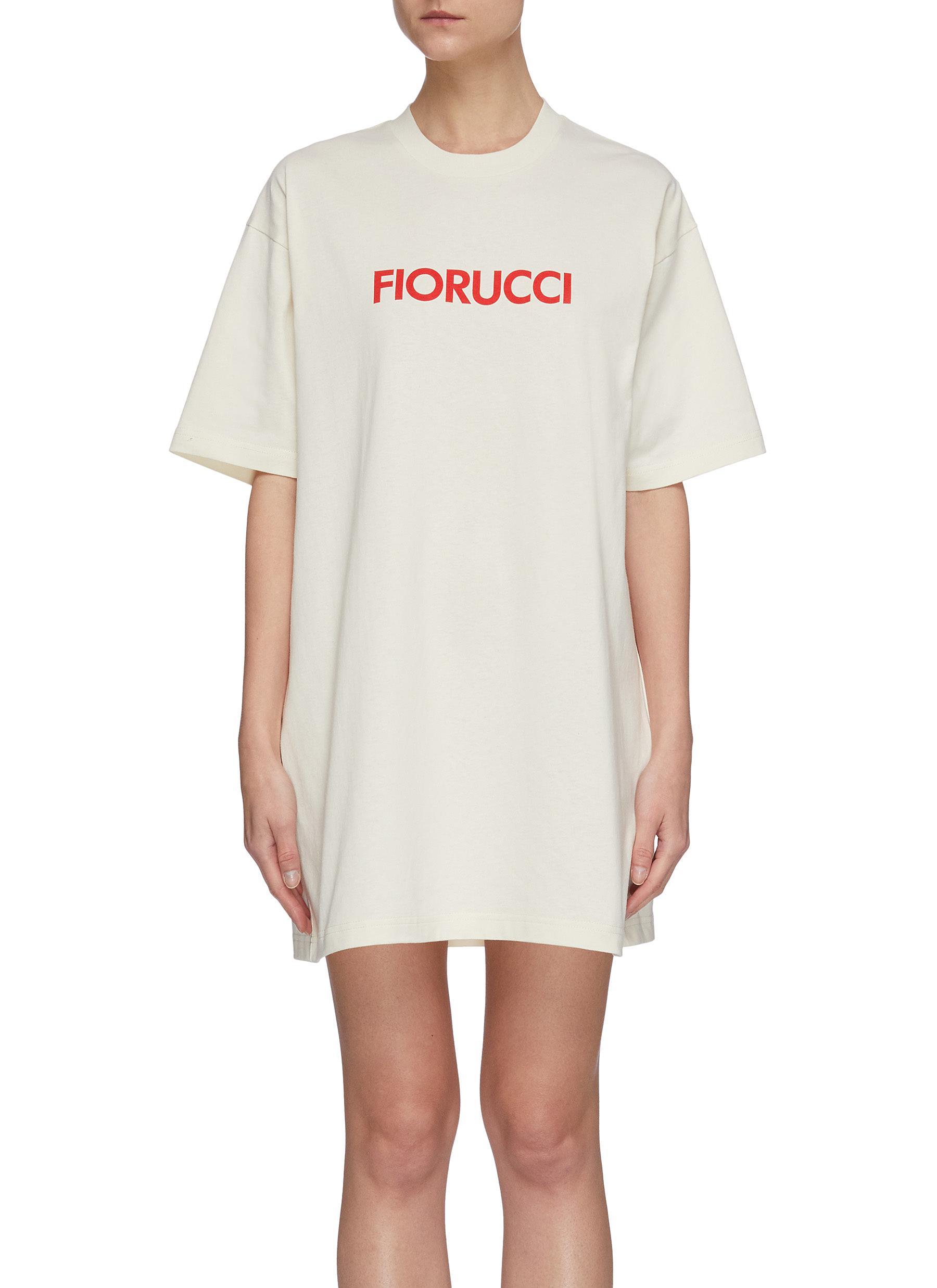 shop Fiorucci Contrast logo print T-shirt dress online