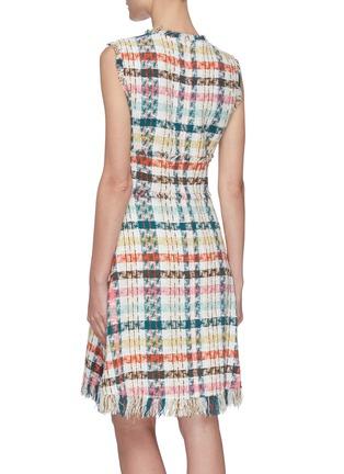 Back View - Click To Enlarge - OSCAR DE LA RENTA - Faded Houndstooth Print Tweed Dress