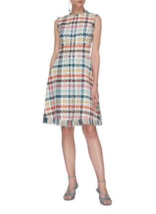 Figure View - Click To Enlarge - OSCAR DE LA RENTA - Faded Houndstooth Print Tweed Dress