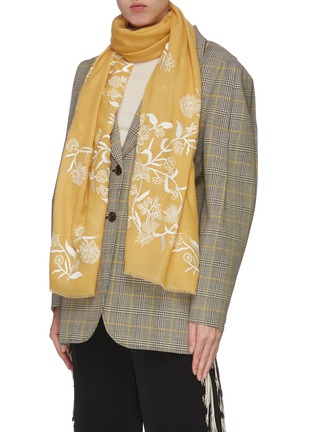 Figure View - Click To Enlarge - JANAVI - Floral placement cashmere scarf