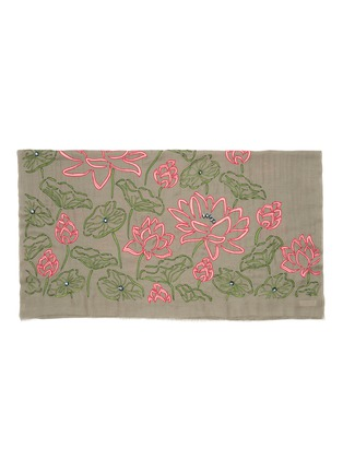 Detail View - Click To Enlarge - JANAVI - Lotus embroidered embellished cashmere scarf