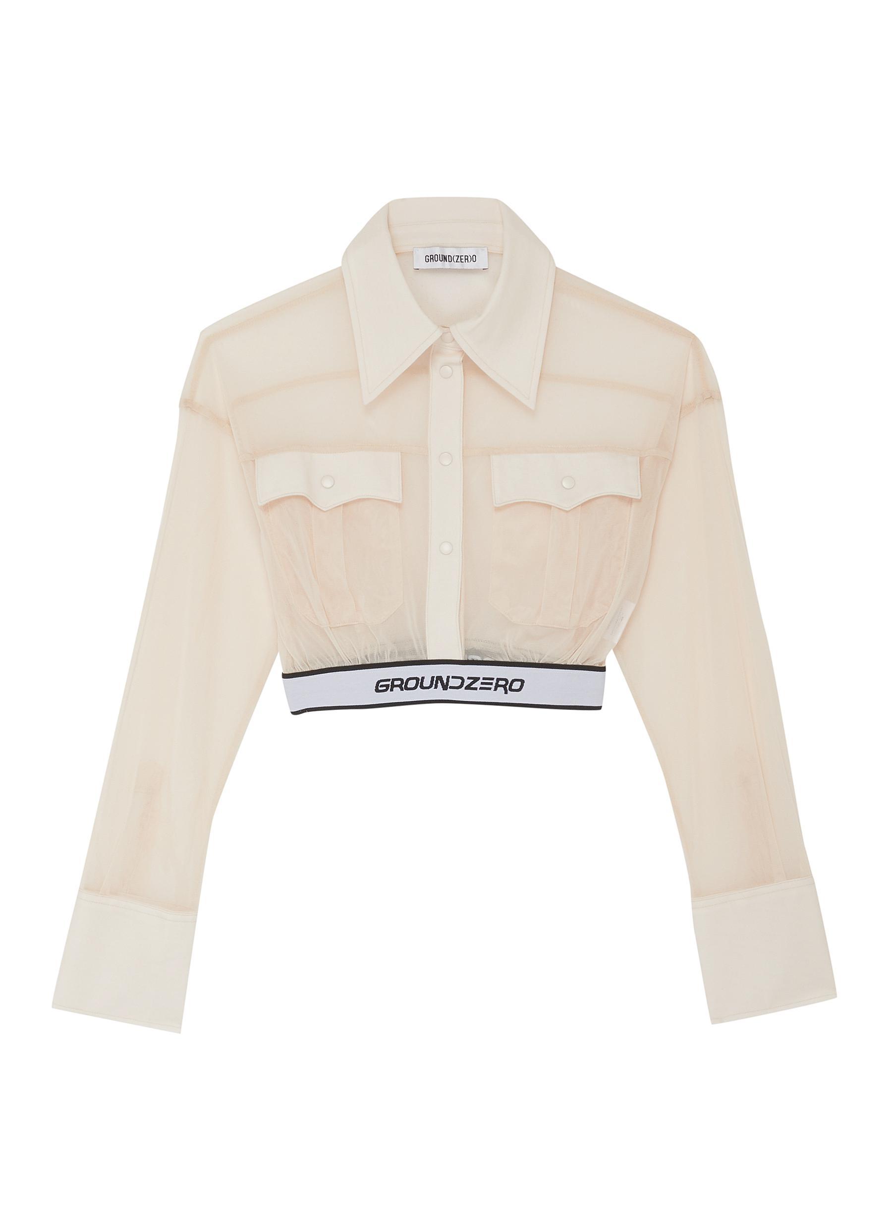 shop Ground Zero Logo waistband sheer placket shirt online