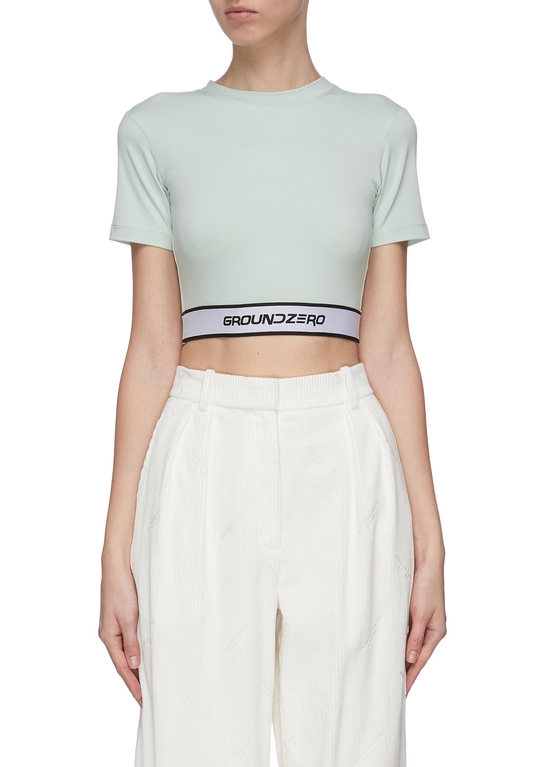 Buy Ground Zero Tops Logo waistband crop top