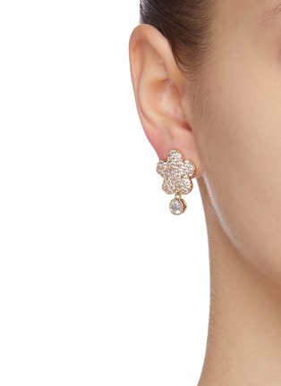 Figure View - Click To Enlarge - CZ BY KENNETH JAY LANE - Floral clover bezel cubic zirconia pavé drop earrings