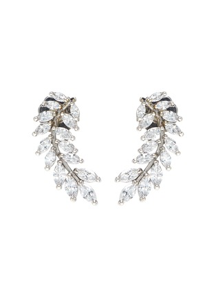 Main View - Click To Enlarge - CZ BY KENNETH JAY LANE - Curved leaf cubic zirconia marquee earrings