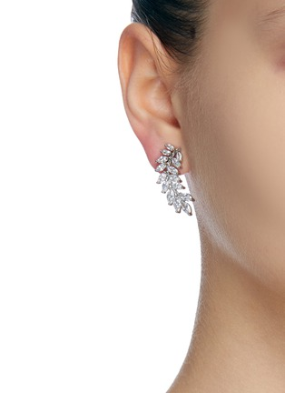 Figure View - Click To Enlarge - CZ BY KENNETH JAY LANE - Curved leaf cubic zirconia marquee earrings