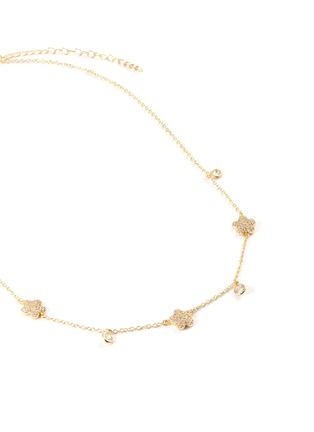 Detail View - Click To Enlarge - CZ BY KENNETH JAY LANE - Cubic zirconia floral clover necklace