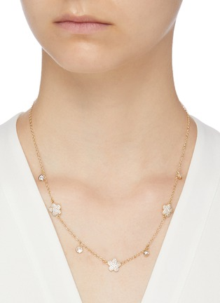 Figure View - Click To Enlarge - CZ BY KENNETH JAY LANE - Cubic zirconia floral clover necklace