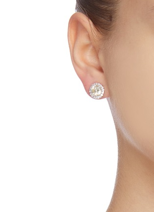 Figure View - Click To Enlarge - CZ BY KENNETH JAY LANE - Cubic zirconia round pave trim stud earrings