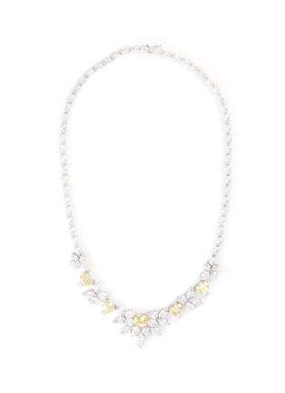 Main View - Click To Enlarge - CZ BY KENNETH JAY LANE - cubic zirconia floral bib necklace