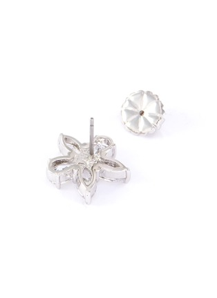 Detail View - Click To Enlarge - CZ BY KENNETH JAY LANE - cubic zirconia pearl floral motif stud earrings